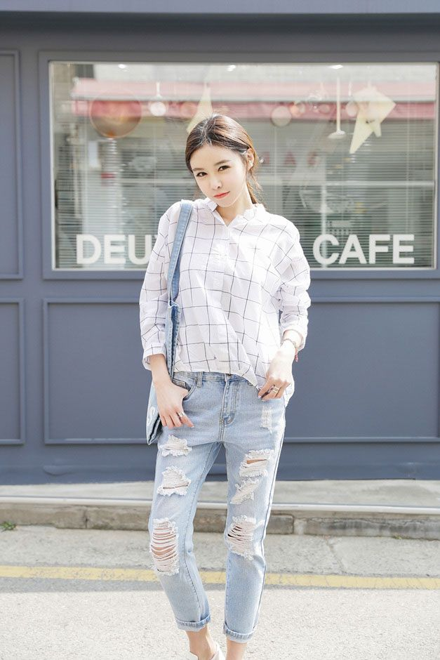 Square Collar Short Shirt | Korean Fashion