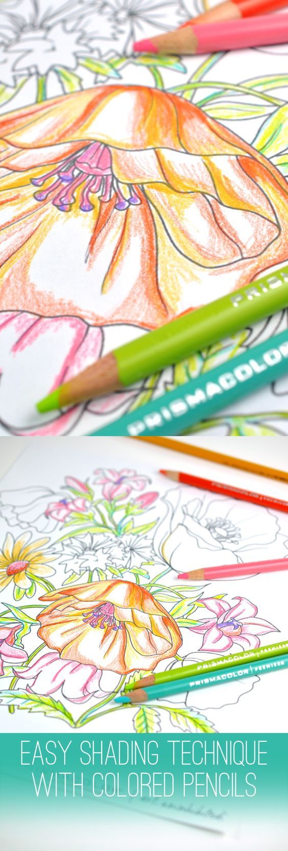 Create beautiful shading on your coloring pages by using two different colors in the same color hue - like yellow and orange, or green and blue. It's so easy with @pinprismacolor pencils (I love the soft core!) and markers at @michaelsstores #relaxandcolor #ColoringwithMichaels #PMedia #ad