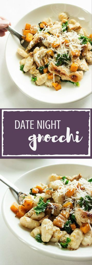 Date Night Gnocchi - a simple 30-minute dish featuring chicken, butternut squash, and kale combined in a creamy alfredo sauce and topped with grated parmesan cheese. So delish and dreamy! | http://passmesometasty.com