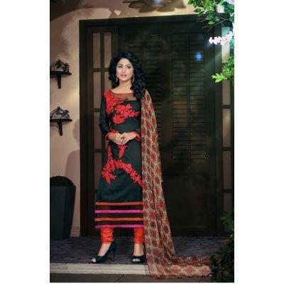 Blooming Black Georgette Dress Material