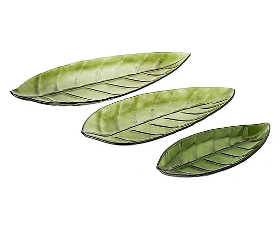 Set van 3 decoratieve schalen Leaves Lio, groen