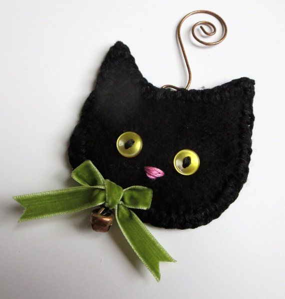 Christmas Decoration Black Cat Ornament PERSONALIZED ORNAMENT Names dates 2 lines of text, Black Kitten Ornament, Upcycled Sweater Cat