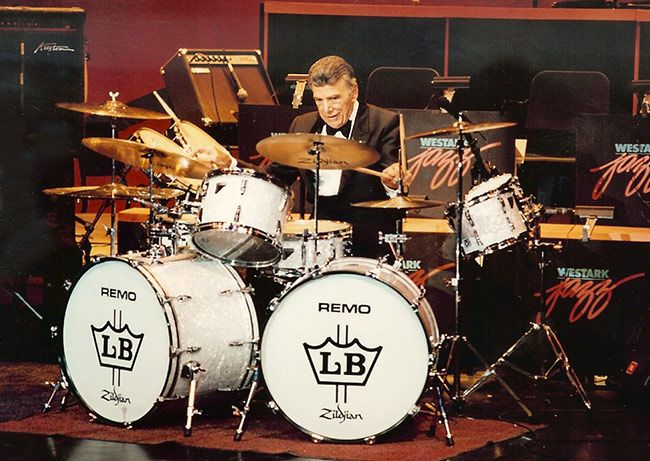 """Louie Bellson, regarded by many as one of the greatest drummers of his era. He worked with such legends as Benny Goodman, Tommy Dorsey and Duke Ellington during a career of more than 60 years. I saw him in concert at Howard University in 1970 with the U.S. Navy Jazz Band. His wife singer Pearl Bailey sat right behind us. All the hardware on his drums were gold plated. """"Not only is Louie Bellson the world's greatest drummer he''s the world's greatest musician!"""" ~~ Duke Ellington"""