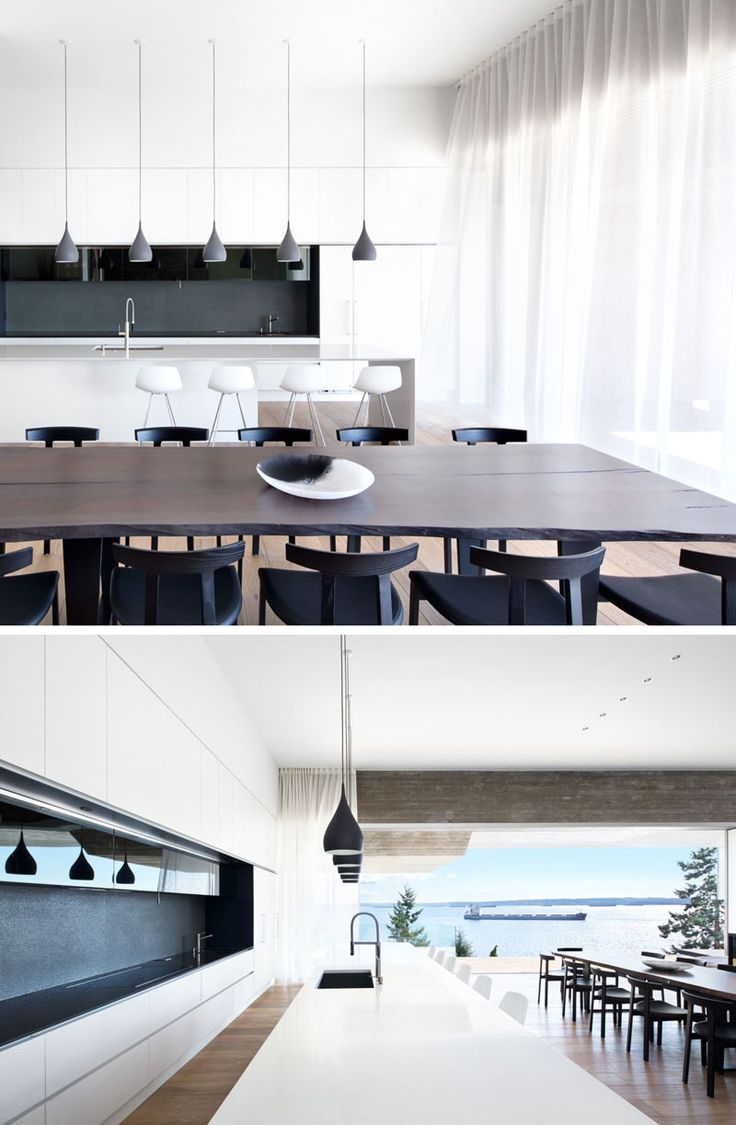 This Modern Dining Room With A Live Edge Wooden Table Is Surrounded By  Black Dining