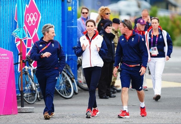 WEYMOUTH, ENGLAND - AUGUST 06:  Catherine, Duchess of Cambridge meets with members of the Team GB sailing squad on Day 10 of the London 2012 Olympic Games at the Weymouth & Portland Venue at Weymouth Harbour on August 6, 2012 in Weymouth, England.