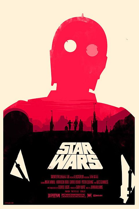 The moons of Tatooine light up C3PO's eyes (Star Wars IV poster by Olly Moss)