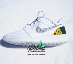 Swarovski Nike White Roshe Run w/ Green Bay Packers by Glitzland