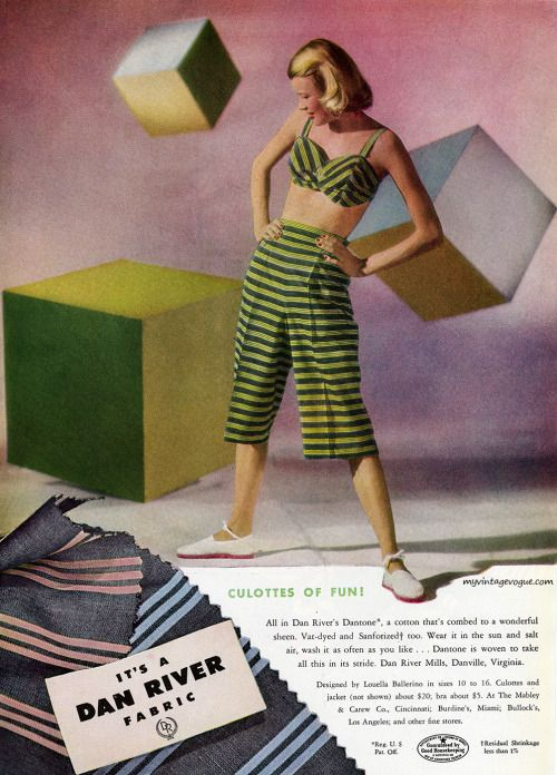 Mid 40s cropped pants top stripes green black playsuit summer sportswear vintage fashion style color photo print ad model Dan River, designed by Louella Ballerino 1946 | myvintagevogue