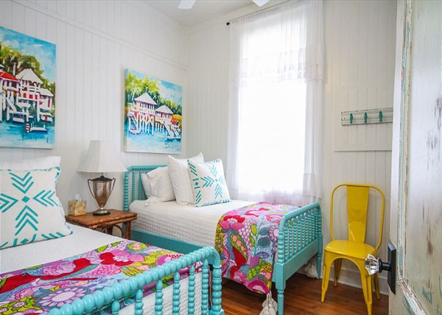 fun bedroom with turquoise Jinny Lind beds | House of Turquoise: Jane Coslick's Cottage on the Green