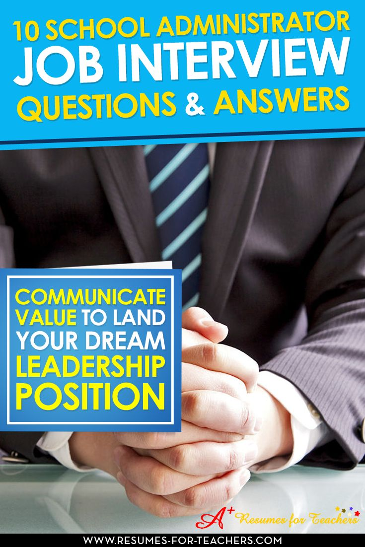 10 sample school administrator interview questions and possible answers to help you prepare for your next education leadership job interview. Excellent interviewing tips for school principals, assistant principals, those wishing to transition into school administration or other educators.  http://resumes-for-teachers.com/blog/interview-questions/school-administrator-job-interview-questions-answers/