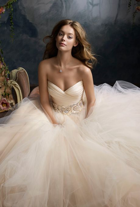 Brides: Lazaro. Tulle ball gown, pleated silk satin organza bodice with sweetheart neckline, floral jewel encrusted band at natural waist, circular gathered skirt, chapel train.