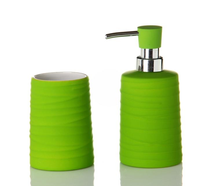 #Set completo de #jabonera para el cuarto de #baño en #azul #verde. #Accesorios de #decoración #hogar para el #baño en Casa Selección.