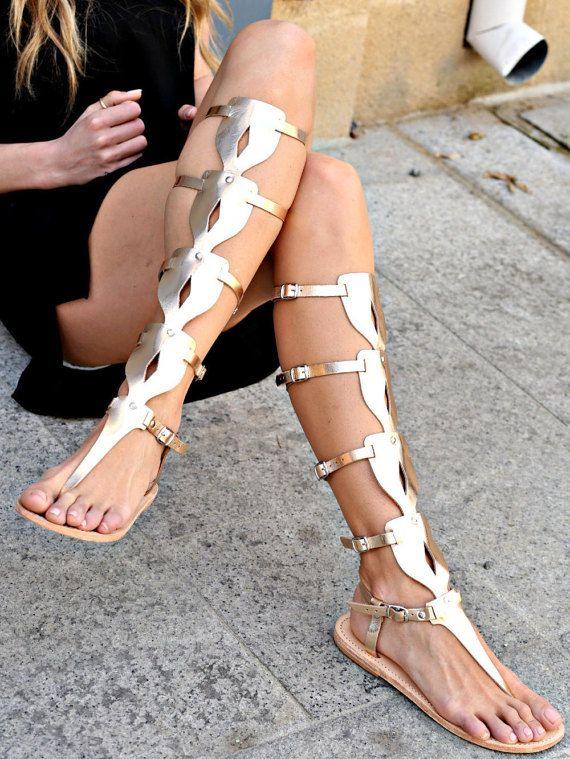 Sandals- Women's Gladiator Sandals, Greek Sandals, Knee High Oplitis Sandals, Women's Shoes, Strappy Sandals