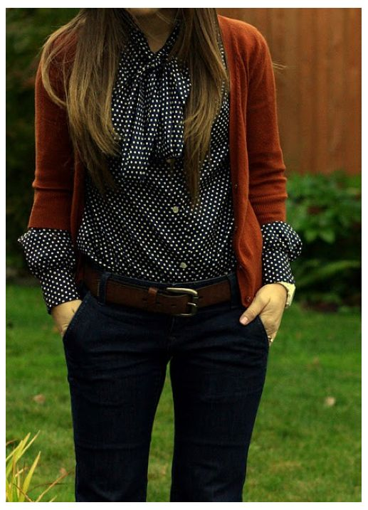 polka dot blouse with cardi