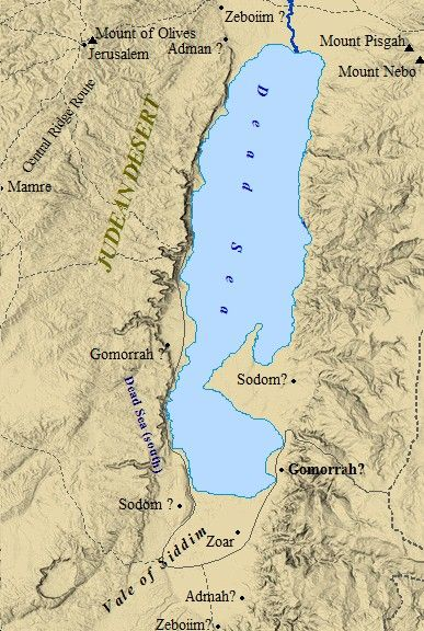 A map of possible locations of Sodom and Gomorrah. The cities of the plain were clearly mentioned as being south of the Dead Sea, but their precise locations remain a mystery.