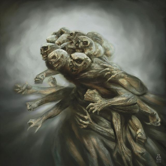 According to greek mythology, the Hecatonchires were 3 giants (who each had 50 heads and 100 arms) who helped Zeus defeat the Titans. This is an interpretation of one of these creatures.: