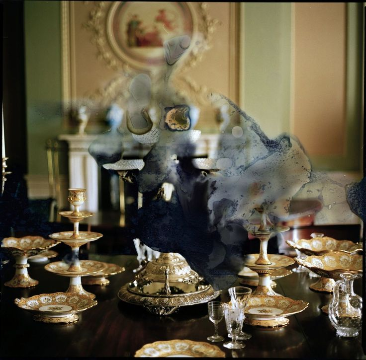 Eleanor Cunningham Un-stately Home No 1, 2011 Photography Elegant table set with silver, crystal and gilded ceramics.