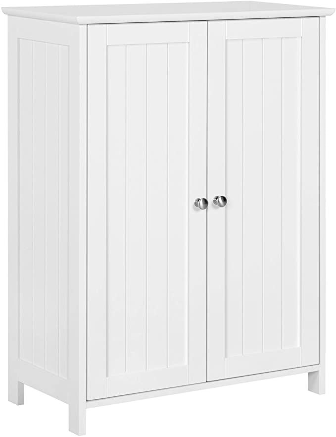 Amazon Com Yaheetech Bathroom Floor Storage Cabinet Free Standing Side Cabinet With 2 Door In 2020 Bathroom Floor Storage Bathroom Floor Cabinets Adjustable Shelving