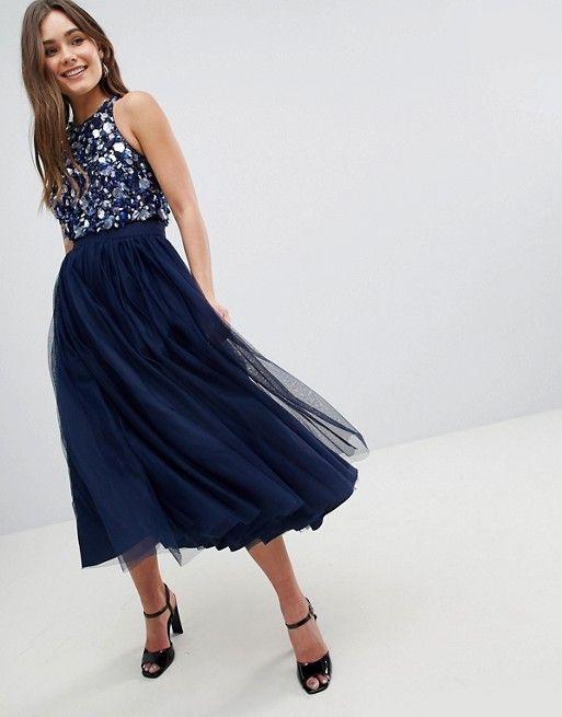 5d69cd4252 Embellished Cluster Crop Top Tulle Midi Dress in 2018