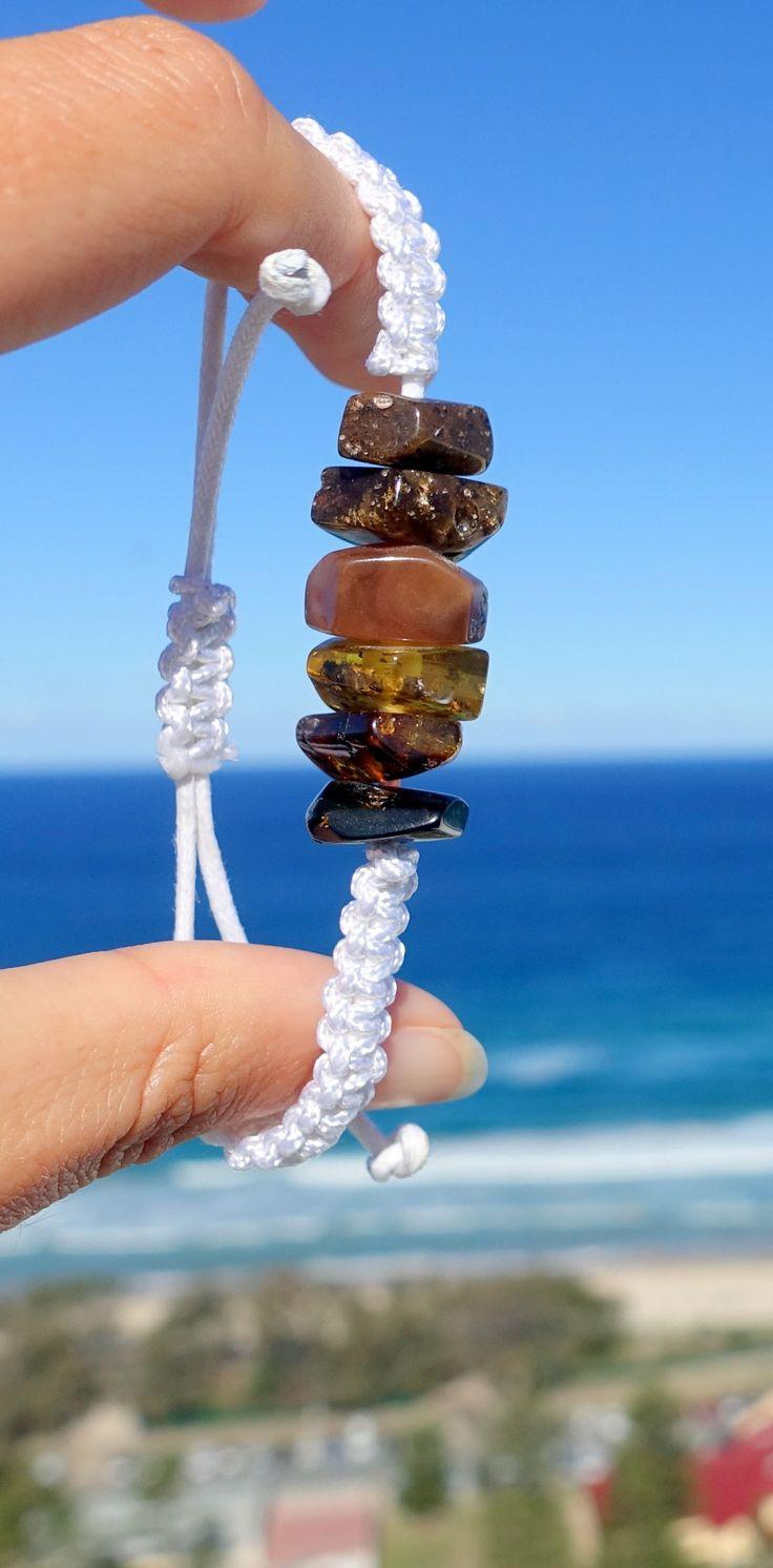 Baltic Amber Macrame Bracelet, Dark Amber On White Cotton Adjustable by sliding knots / amber jewelry