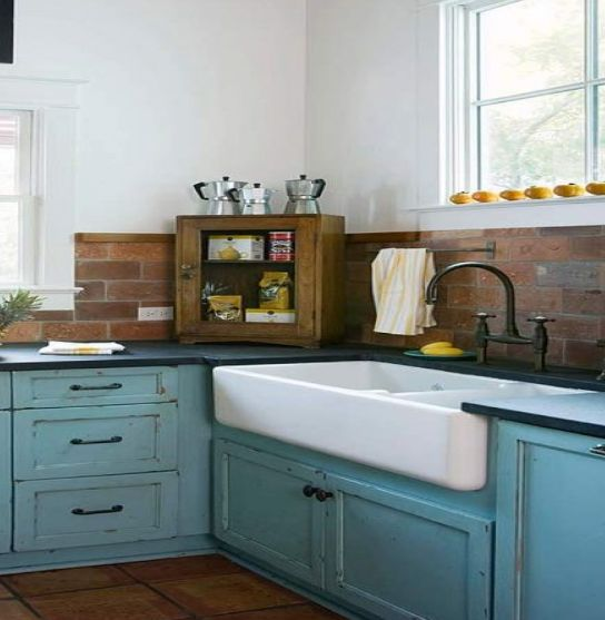 I Just Love The Sink In This Rustic Farmhouse Kitchen Love The Old Looking Tiffany Blue Cabinets