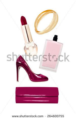 collection of elegant accessories on a white background