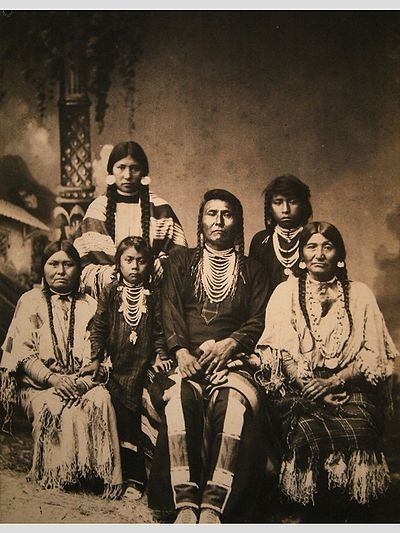 "Chief Joseph and family.  ""Look into Chief Joseph's face. What was he thinking and feeling at that moment? I believe this photograph is one of the most revealing portraits in our collection. You can see great dignity, pride, intelligence, and sadness in Joseph's face and body language as well as tension, and perhaps some anger."" - Elaine Miller"