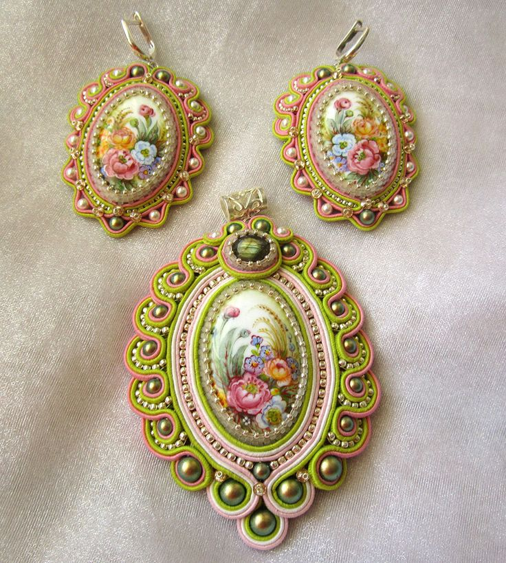 Set Spring. Earrings and Pendant. by intalasa on Etsy