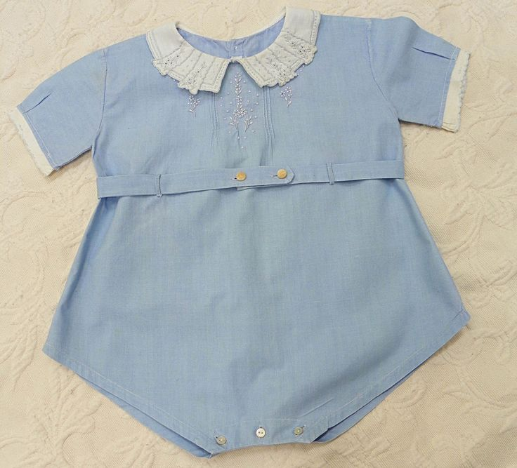 Sweet LittleHandmade in Portugal Vintage Boys Blue Baby Outfit