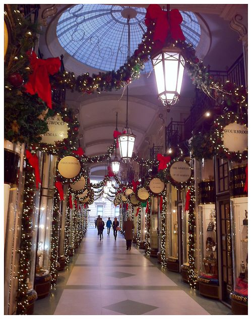 Christmas decorations in the Picadilly Arcade, London