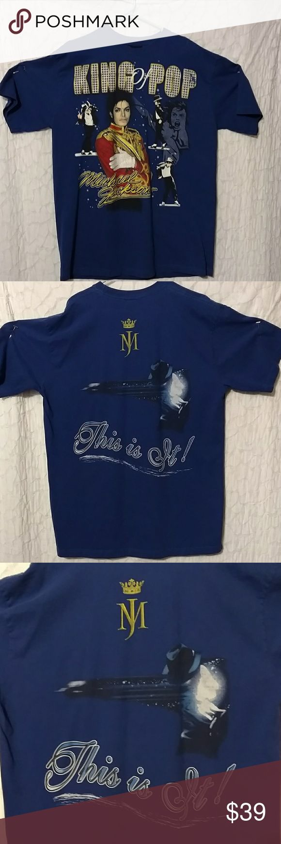"""Michael Jackson """"This is It"""" Tour T-shirt Blue """"King of Pop""""  (""""This is It""""  Tour) Concert T-shirt.  Size 2x (more like a 1x)  Has graphics on front & back.  Really cool shirt.  That's right """"Who's BAD"""" ?  Great collectors item.  Like new condition. True Cotton Tops Tees - Long Sleeve"""