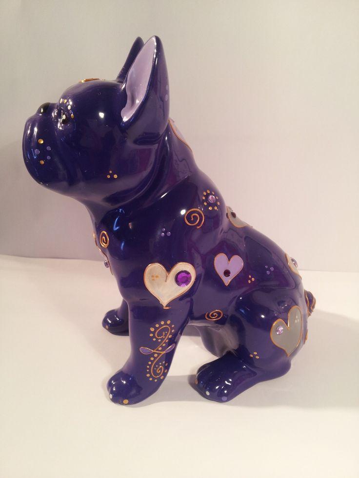 """Statue bouledogue céramique, """"Purple"""" unique, Laure Terrier"""