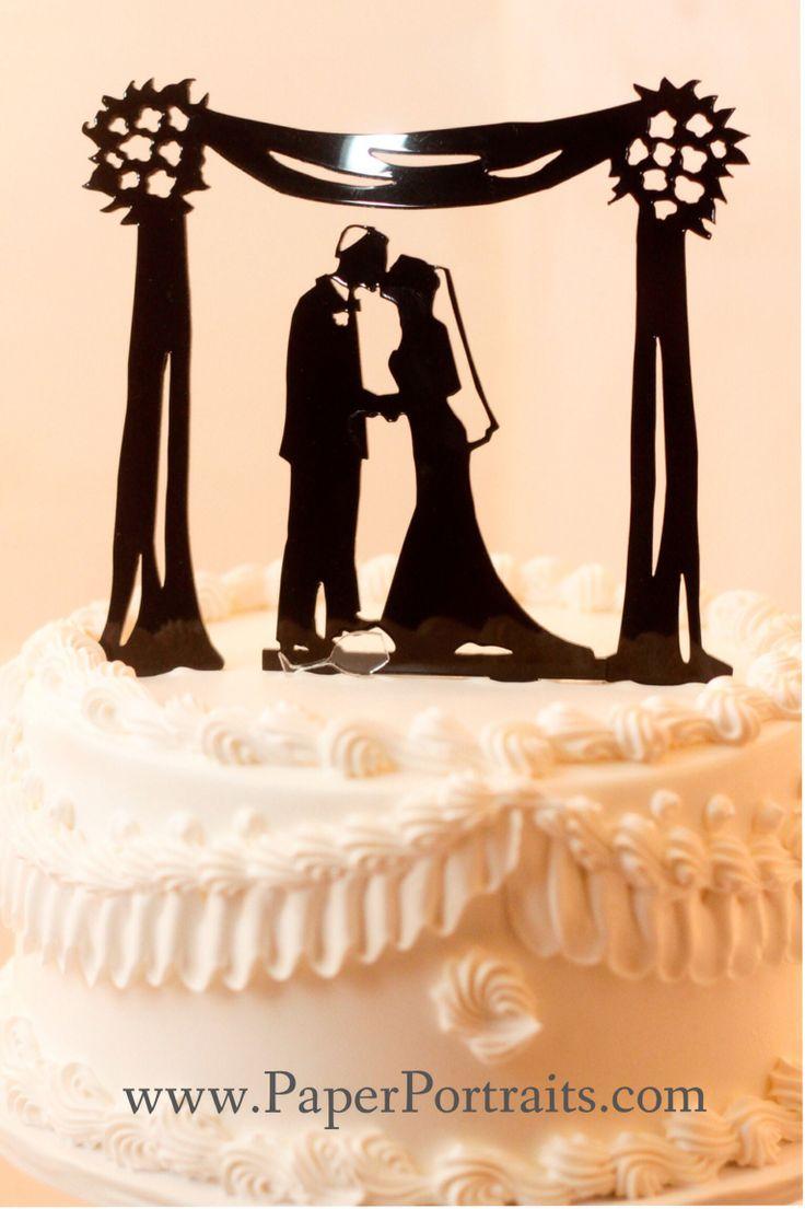 Great Simcha Ideas | Chuppah Wedding Cake Topper Silhouette, Jewish Cake Topper. Original design by Silhouette Artist Kathryn Flocken of www.PaperPortraits.com
