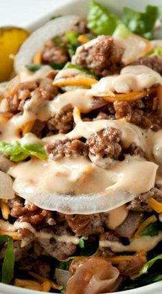 Low Carb Cheeseburger Salad......THIS TASTE JUST LIKE A CHEESEBURGER......I WOULD TRIPE THE DRESSING...IT WAS A HIT AND EVERYONE LIKED IT