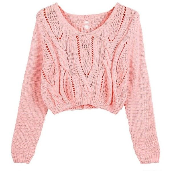 Catkit Women Vintage Sweater Long Sleeve Eyelet Cable Lace Up Crop Top... (250 ARS) ❤ liked on Polyvore featuring tops, sweaters, pink top, crop top, cable-knit sweater, cable sweater and pink sweater