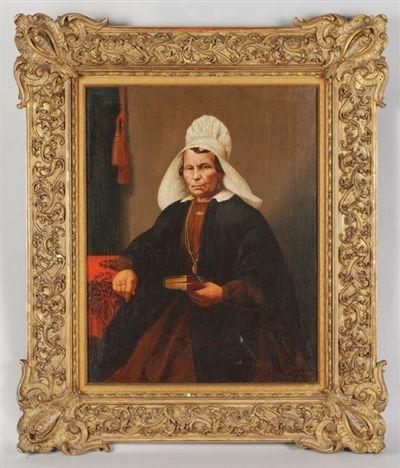 Portret van een vrouw in streekdracht, zittend aan tafel. In haar linkerhand een boek (bijbel?) met beslag. 1867 Barent Johannes Cornelis Weingärtner (Oosterhout 1837 - Oosterhout 1986) #NoordBrabant #Breda