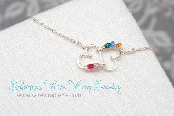 Madri doppio cuore infinito argento collana di wirewrap su Etsy, $38.00