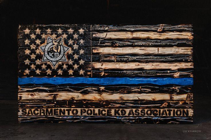 Custom Stencil for Sacramento Police K9 Association American Pallet Flag DIY // Stencil Designs // DIY Projects // Wall Stencils // Letter Stencils // Custom Stencils