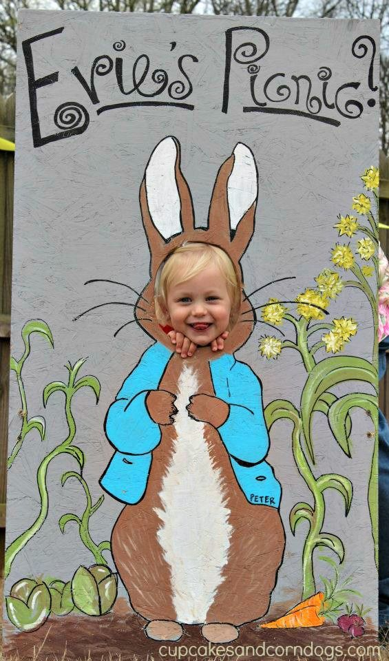 Peter Rabbit photo stand.  Over the top?  But I love it!