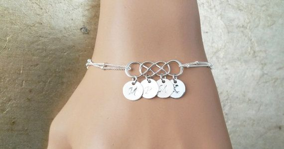 PERSONALIZED INITIAL  Please note for me when you check out (A-Z).    This sterling silver DOUBLE infinity bracelet, is made with hand stamped 7mm initial disc charms  The sterling silver version is 100% sterling silver, and is nickel free.    ALL MERTARIAL IS STERLING SILVER.  DOUBLE INFINITY  9MM DISC  SATELLITE CHAIN       All items come wrapped individually in a ribboned gift box.   Shop this product here: spree.to/bcpv   Shop all of our products at http://spreesy.com/Embrace…