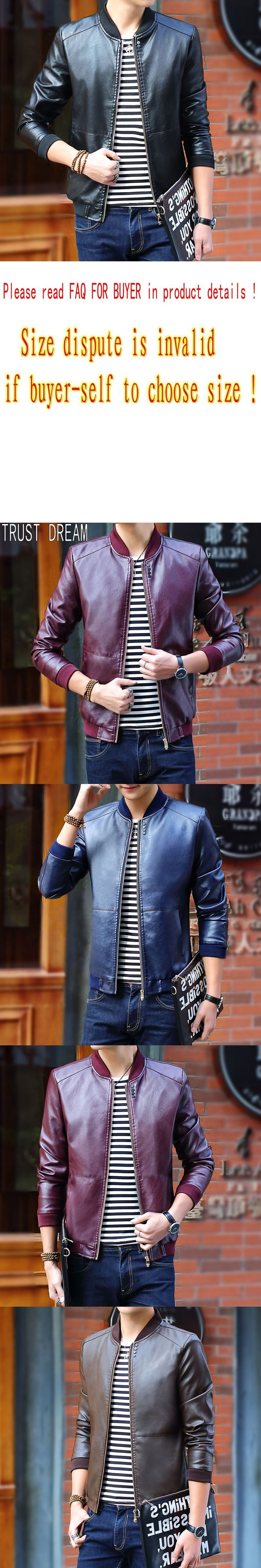 TRUST DREAM Europeans Fashion Men Leather Jackets Men's Solid Jacket Man PU Jacket jaqueta de couro masculina Plus Size