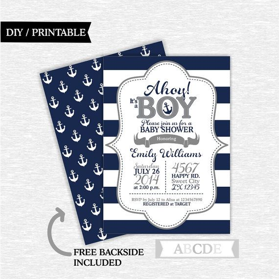 Navy Grey Boy Baby Shower invitation Nautical baby by abcdeparty