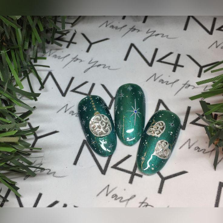 Jule negle i grønne med negle folie i sølv. Christmas nails in green