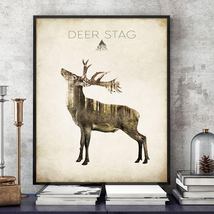 Deer Stag Art Print, Woodland Animals Print, Deer Wall Art, Deer Poster, Forest Spirit Deer, Deer Painting, Home Decor, Kids Room (N418) by PointDot on Etsy