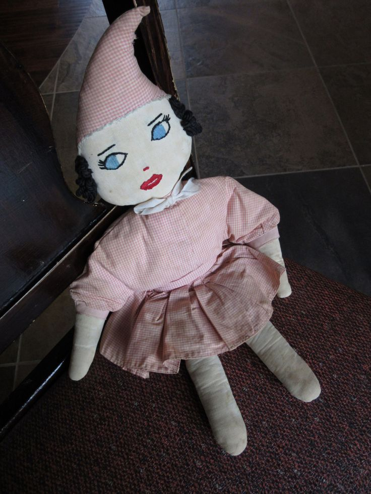 Whimsical Vintage Homemade Cloth Doll, Antique Handmade, Hand Sewn, Embroidered Face, Collectible Dolls, Toys, Folk Art,Pointy Hat,Pink,OOAK by BarefootAndCivil on Etsy