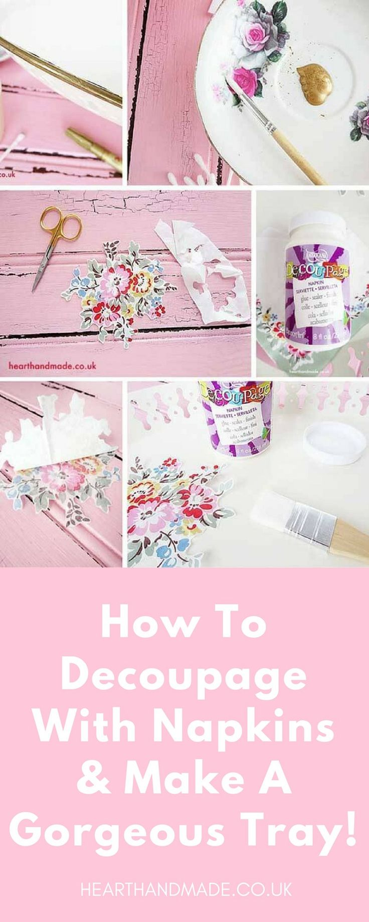 are you excited to learn how to decoupage with napkins? This tutorial teaches you the techniques to get a smooth finish so you can decoupage napkins onto almost any surface using the Americana Deco Art DecouPage Glue suitable for use with napkins. It's a super thin decoupage glue so that it doesn't damage the delicate napkins too much.