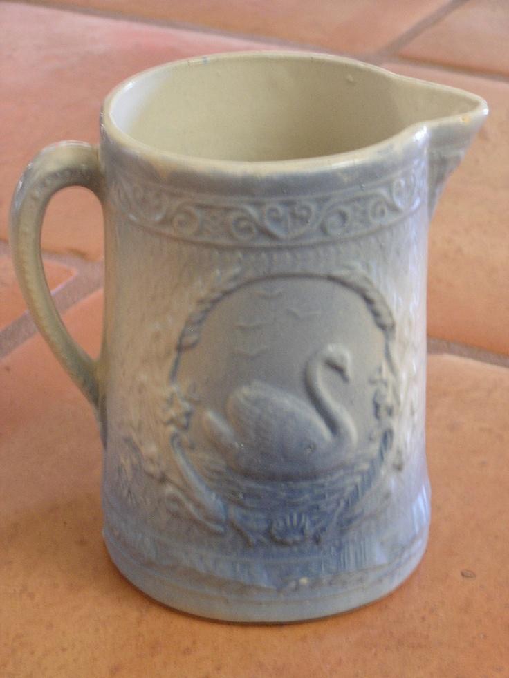 VINTAGE BLUE & WHITE STONEWARE PITCHER WITH SWAN | eBay  sold  180.00