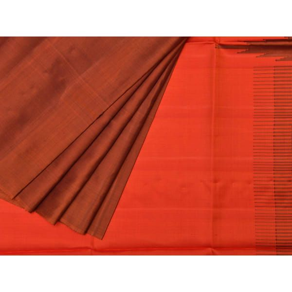 Rust Uppada Silk Handloom Saree with Raising Temple Design u1211