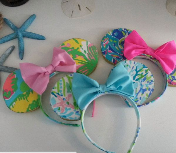 Minnie Mouse Inspired Ears Covered With Lilly Pulitzer Fabric Wear to Disney by SouthernBabyClassics on Etsy https://www.etsy.com/listing/253760990/minnie-mouse-inspired-ears-covered-with