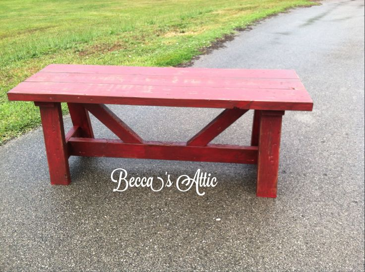 Custom Built Bench Heavy Distressed, Painted In Rustic Red Then Stained